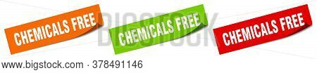 Chemicals Free Sticker. Chemicals Free Square Isolated Sign. Chemicals Free Label