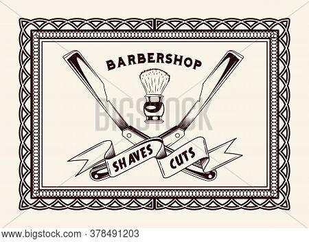 Barbershop Vintage Lettering, Frame For Signboard, Label, Sticker, Poster, Print For Clothes, Logo,