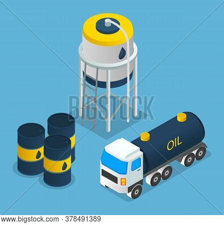 Oil Petroleum Industry, Oil Depot, Barrels With Oil Products, Oil Transportation, Isometric Industri