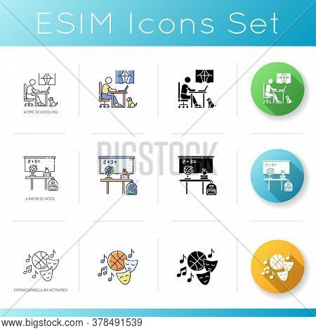Primary Education Icons Set. Linear, Black And Rgb Color Styles. Home Schooling, Junior School And E