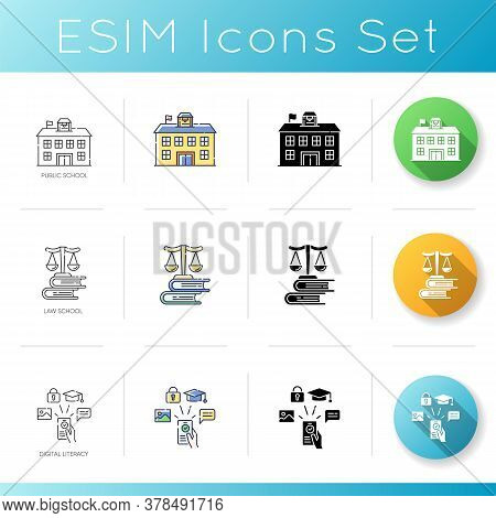 Modern Education System Icons Set. Linear, Black And Rgb Color Styles. Public School, State College