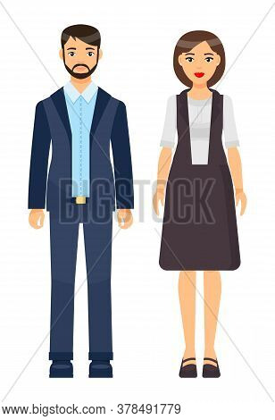 Collection Of Vector Cartoon Characters. Businesswomen And Businessmen With Different Style Office C