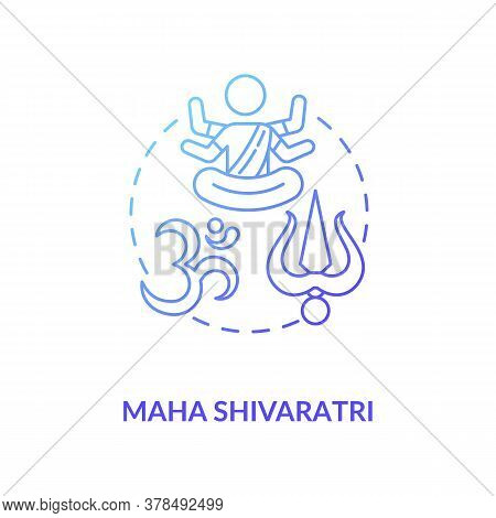 Maha Shivaratri Concept Icon. Traditional Hindu Festival Idea Thin Line Illustration. Religious Holi