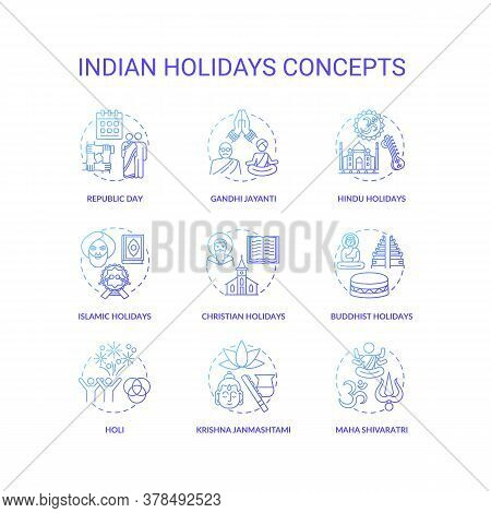 Indian Holidays Concept Icons Set. India Customs And Traditions Idea Thin Line Rgb Color Illustratio