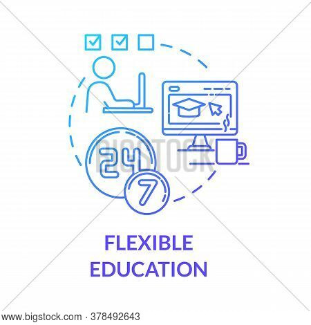 Flexible Education Concept Icon. Remote Learning. Online Universities. E Learning And Teaching. Home