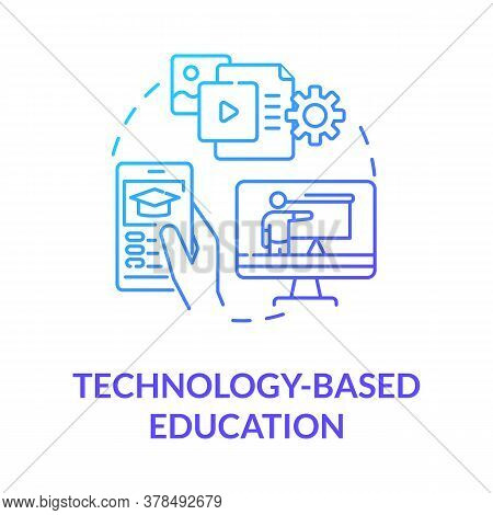 Technology Based Education Concept Icon. Mobile And Computer Learning. Elearning. Webinars. Online E