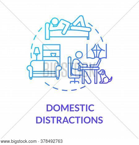 Domestic Distractions Concept Icon. Home Based Education. Elearning. Distance Learning And Lessons.