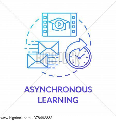Asynchronous Learning Concept Icon. Remote Learning Environment. Flexible Education. Distance And Co
