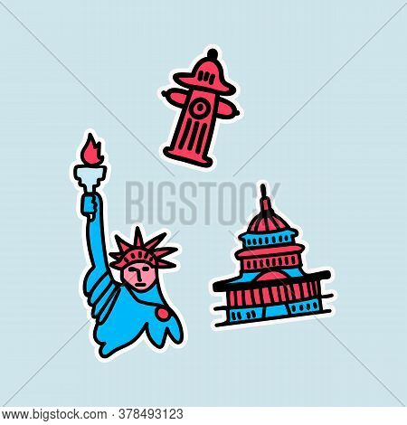 A Set Of Stickers For Attractions In The United States. The Set Includes The Whitest House, A Fire H
