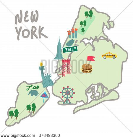 Map Illustration Of Attractions In New York Usa. The City Map Includes The Famous Statue Of Liberty