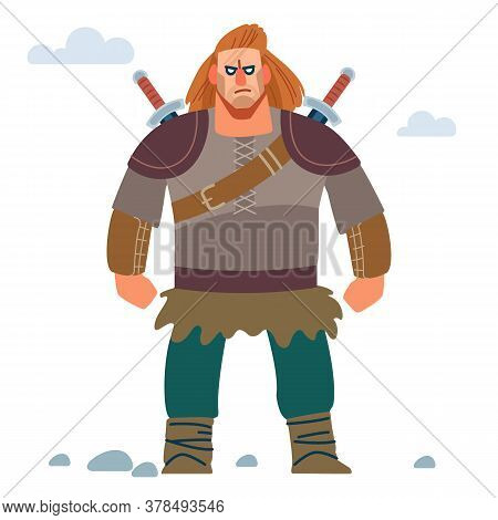 Warrior Northerner. Medieval Young Viking In Armor With Two Swords. Vector Isolated On White Backgro