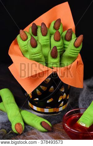 Witches Finger Cookies Made Of Shortcrust Pastry With Almond Fingernail. Ideally For A Happy Hallowe