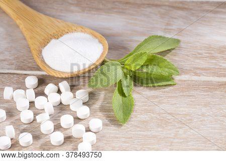 Natural Sweetener In Pills Of Stevia Plant - Stevia Rebaudiana.