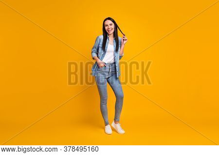 Full Length Body Size View Of Her She Nice-looking Attractive Charming Glad Cheerful Cheery Girl Enj