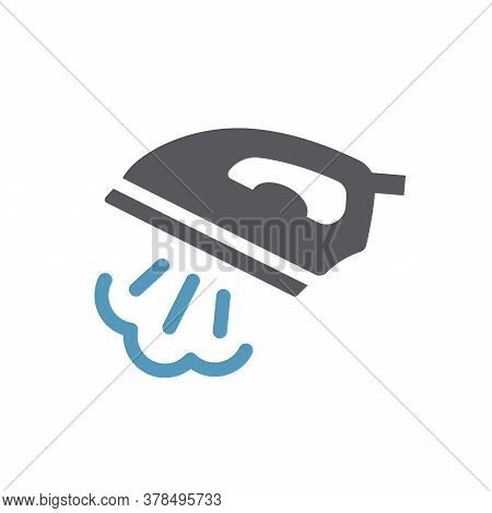 Iron With Steam Black Vector Icon. Ironing Service Simple Glyph Symbol.