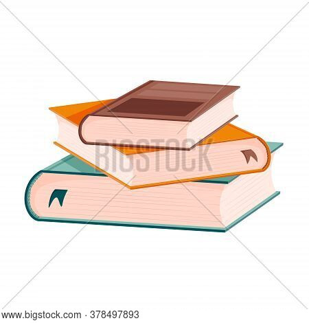 A Stack Of Books With Bookmarks. The Books Are Stacked Unevenly On Top Of Each Other. Hardcover Text