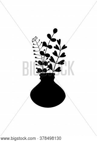A Bunch Of Herbs In A Vase. Silhouettes Of Simple Twigs, Plants, Herbarium. Ceramic Pitcher, Vase. V