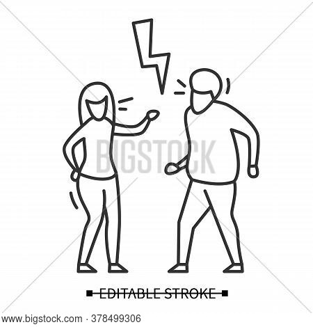 Family Conflict Icon. Wife And Husband Having Argument Under Strike Linear Picogram. Marriage Crisis