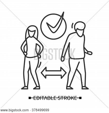 Divorce Icon. Peaceful Couple Separation Under Agreement Linear Pictogram. Concept Of Divorce Proces