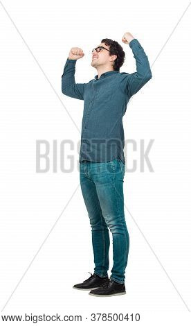Full Length, Confident Businessman Flexing Muscles Imagine Superpower. Person Shows His Strength, Po