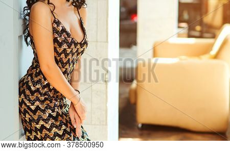 Sexy Woman In Fashion Evening Dress. Woman Posing At Modern Interior. Beauty And Fashion. Fashion Fe