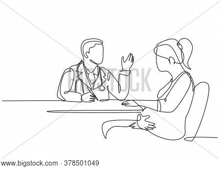One Single Line Drawing Of Male Obstetrics And Gynecology Doctor Talk To Patient Giving Suggestion A