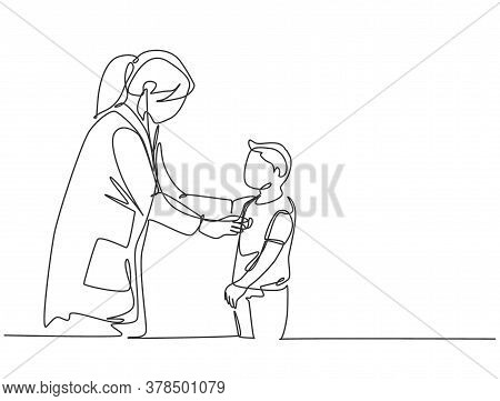 One Single Line Drawing Of Female Pediatric Doctor Examining Heart Beat Young Boy Patient With Steth