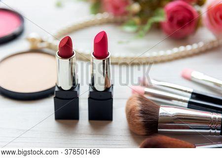 Makeup Beauty Cosmetic Fashion Set Background. Cosmetics Woman Bag Product Facial, Lipstick, Rose Fl