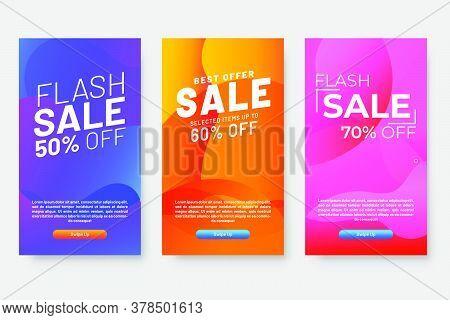 Set Of Three Modern Gradient Liquid Design For Mega Sale Banners. Sale Banner Template Design, Socia
