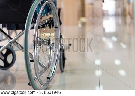 Close Up Wheelchairs Waiting Of Patient Services. Medical Wheelchairs In The Hospital.