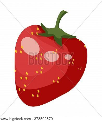Icon Of Red Juicy Strawberry Isolated At White. Sweet Summer Berry, Fresh Ripe Vitamin Fruit, Cartoo