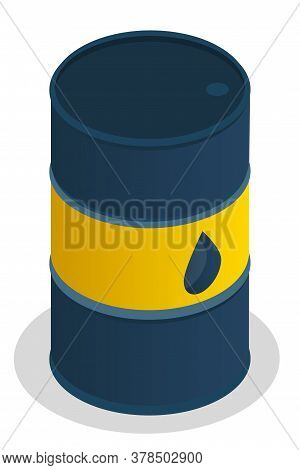 Vector Illustration Of Dark Blue Metal Oil Barrel On White Background. Barrel Of Gasoline Vector. Li