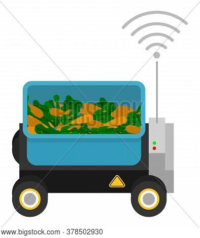 Machine With Box And Gps Signal. Container With Harvest, Carrots. Automatic Box At Wheels For Cargo