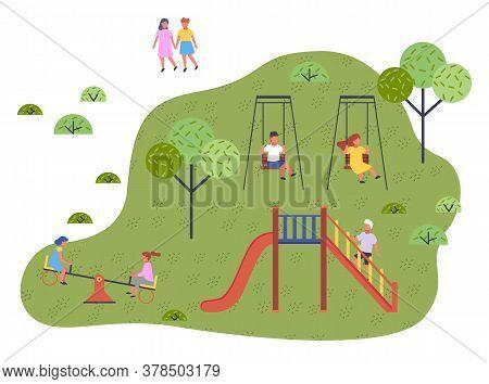 Children Spending Time At Playground, Kindergarten. Kids Have Fun, Recreation Outdoors At Summer. Gi