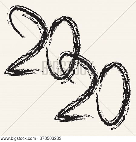 Happy New Year.illustration With Origami Numbers 2020. Freehand Drawing. Modern Stylish Texture