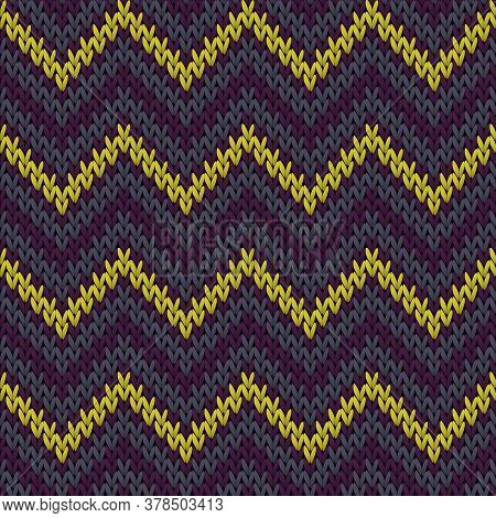 Material Chevron Stripes Knitted Texture Geometric Vector Seamless. Ugly Sweater Knitwear Fabric Pri