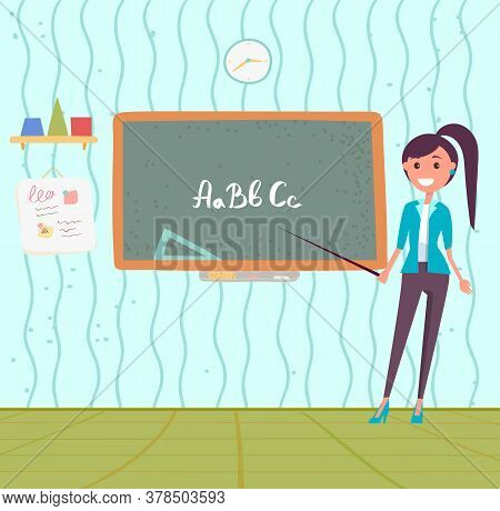 School Education Vector, Teacher Holding Pointer Showing Abc On Blackboard. Learning To Write And Re