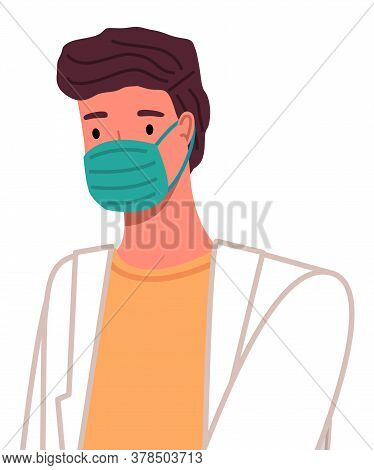 Doctor In Protective Medical Face Mask. Vector Lllustration Medical Doctor Avatar In A Flat Style. P