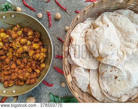 Indian Traditional Food - Aloo Nutri Mix Veg With Chapati - Stock Photo Of Indian Potato And Nutri S