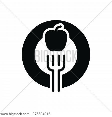 Black Solid Icon For Diet Fork Apple Healthy Nutritionist Dietician Healthcare Food Breakfast
