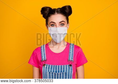 Close-up Portrait Of Her She Nice Attractive Pretty Lovely Brown-haired Girl Wearing Safety Mask Sto