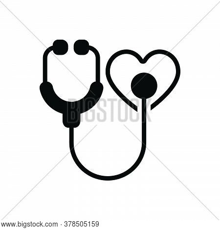 Black Solid Icon For Heart-care Catholicity Awareness Stethoscope Treatment Wellness Protect Cardiol