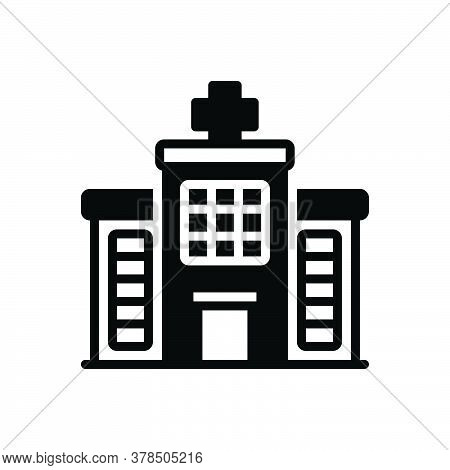Black Solid Icon For Hospital Bulding Landmark Hospitality  Architecture Clinic Emergency Medical Pa