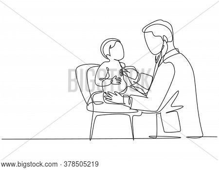 Single Continuous Line Drawing Of Young Male Pediatric Doctor Examining Heart Beat Cute Toddler Pati
