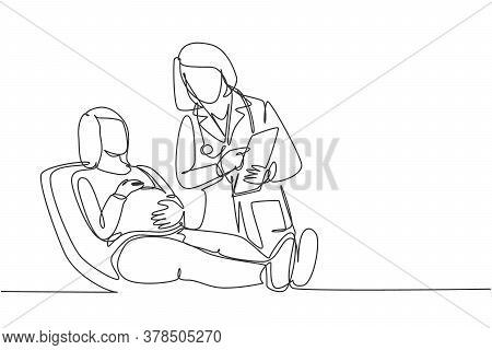 One Single Line Drawing Of Female Obstetrics And Gynecology Doctor Talking To Patient And Explain Th