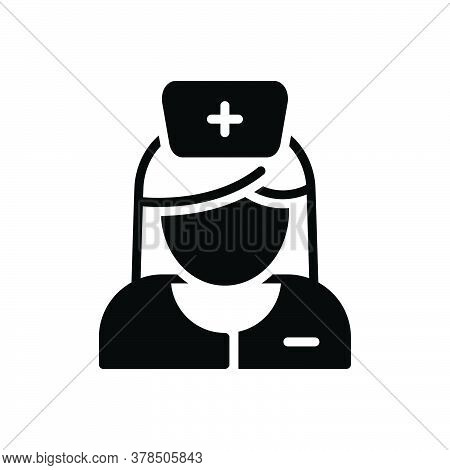 Black Solid Icon For Nurse Sister Avatar Woman Medical Care-taker Hospital Medical Worker