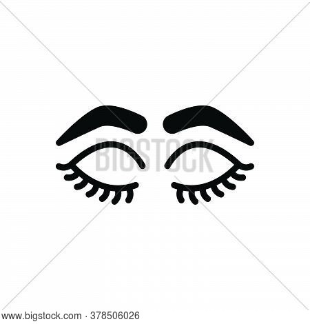 Black Solid Icon For Closed-eyes-with-lashes-and-brows Glamour Makeup Eyelashes Beautiful Style Beau