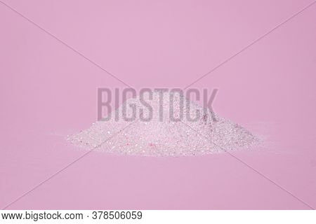 Heap Of Pink Powder On A Pink Background. Gelatinous Dessert Mix Of Pink Color, With Cherry Flavor.
