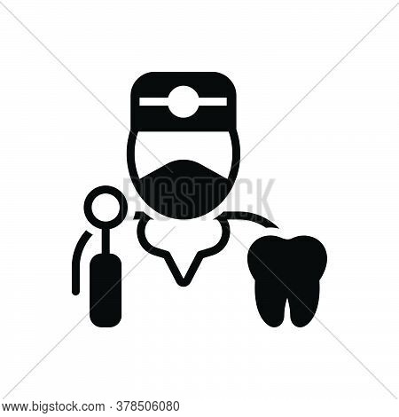 Black Solid Icon For Dentist Tooth Dental Specialist Treatment Healthcare Profession