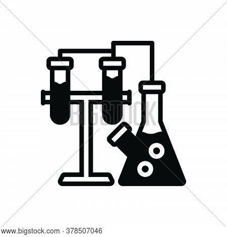 Black Solid Icon For Chemistry Experiment Lab Pharmaceutical Research Test-tube Medical  Patholology